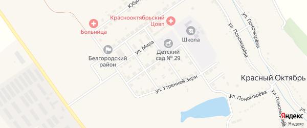 Молодежная улица на карте села Красного Октября Белгородской области с номерами домов