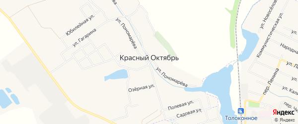 Садовое товарищество Сахарник на карте села Красного Октября Белгородской области с номерами домов