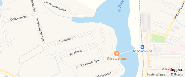Полевой переулок на карте села Красного Октября Белгородской области с номерами домов