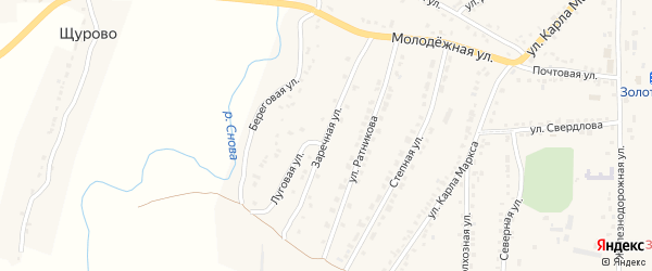 Заречная улица на карте поселка Золотухино Курской области с номерами домов