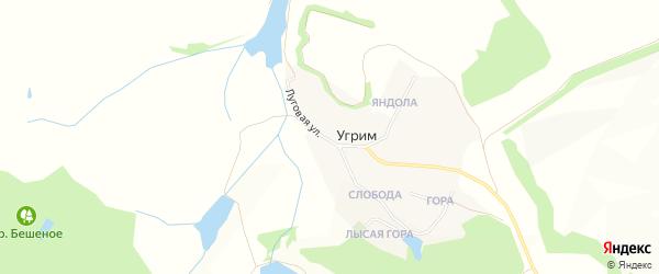Карта хутора Угрима в Белгородской области с улицами и номерами домов