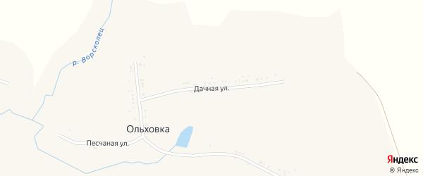 Дачная улица на карте села Ольховки с номерами домов