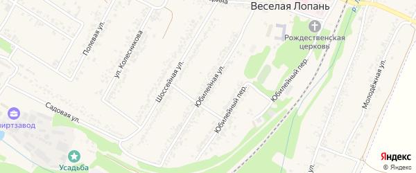 Юбилейная улица на карте села Веселой Лопани с номерами домов