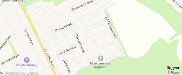 Садовая улица на карте Комсомольского поселка Белгородской области с номерами домов