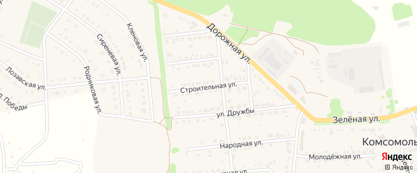 Строительная улица на карте Комсомольского поселка Белгородской области с номерами домов