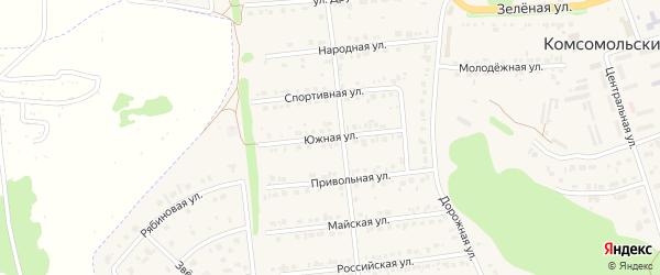 Южная улица на карте Комсомольского поселка Белгородской области с номерами домов