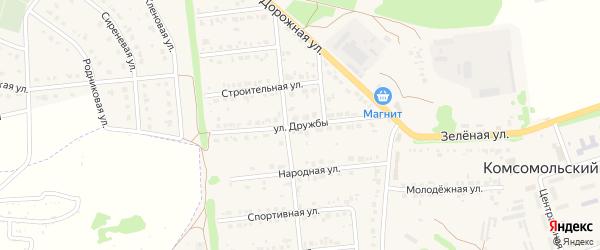 Улица Дружбы на карте Комсомольского поселка Белгородской области с номерами домов