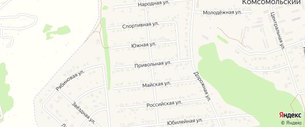 Привольная улица на карте Комсомольского поселка Белгородской области с номерами домов