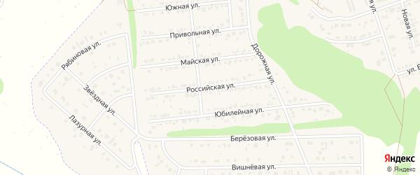 Российская улица на карте Комсомольского поселка Белгородской области с номерами домов