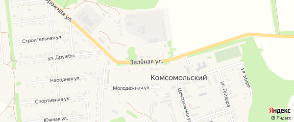 Зеленая улица на карте Комсомольского поселка Белгородской области с номерами домов