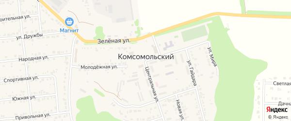 Садовый 1-й переулок на карте Комсомольского поселка Белгородской области с номерами домов