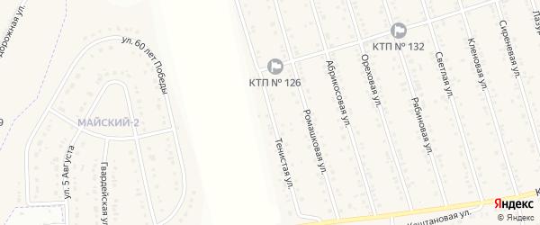 Тенистая улица на карте Майского поселка Белгородской области с номерами домов
