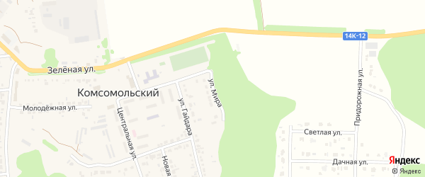 Улица Мира на карте Комсомольского поселка Белгородской области с номерами домов