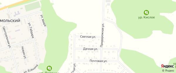 Светлая улица на карте Комсомольского поселка Белгородской области с номерами домов