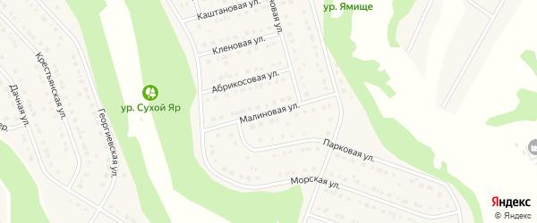 Малиновая улица на карте Стрелецкого села Белгородской области с номерами домов