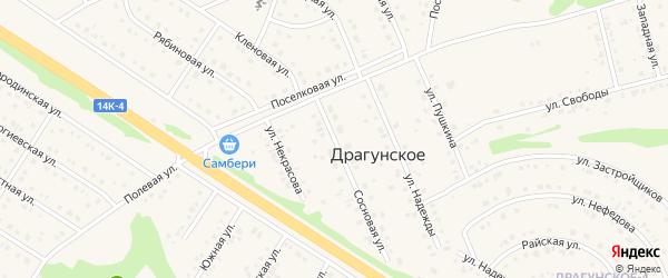 Улица Ахматовой на карте Драгунского села с номерами домов