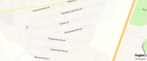 Инженерная улица на карте Майского поселка Белгородской области с номерами домов