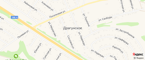 Маленькая улица на карте Драгунского села с номерами домов