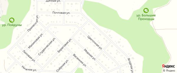 Цветочная улица на карте Комсомольского поселка Белгородской области с номерами домов