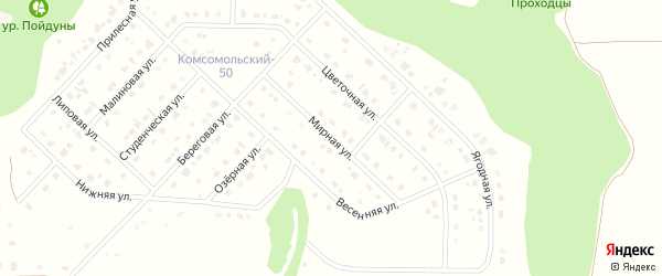 Мирная улица на карте Комсомольского поселка с номерами домов
