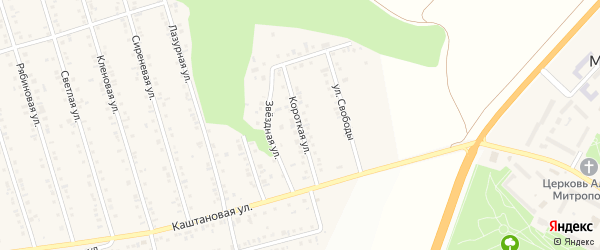 Короткая улица на карте Майского поселка с номерами домов