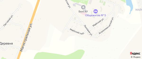 Майский переулок на карте Майского поселка Белгородской области с номерами домов