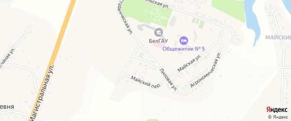 Лиловый переулок на карте Майского поселка Белгородской области с номерами домов