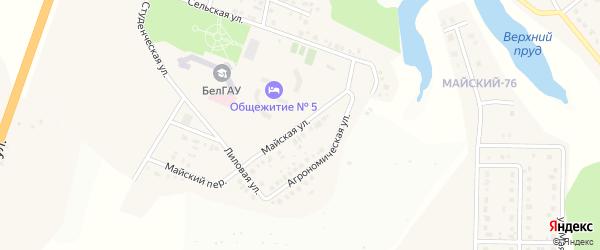Майская улица на карте Майского поселка Белгородской области с номерами домов