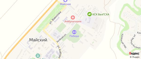Зеленая улица на карте Майского поселка Белгородской области с номерами домов