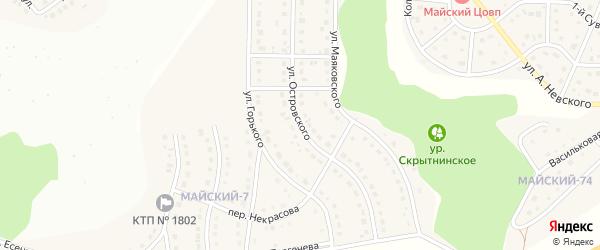 Улица Островского на карте Майского поселка Белгородской области с номерами домов