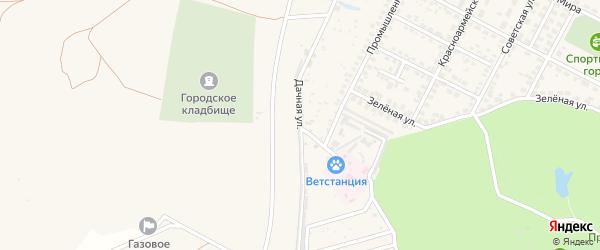 Дачная улица на карте Строителя с номерами домов