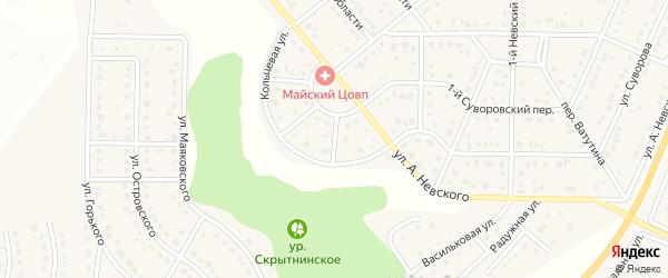 Невский 4-й переулок на карте Майского поселка Белгородской области с номерами домов