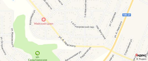 Невский 2-й переулок на карте Майского поселка Белгородской области с номерами домов