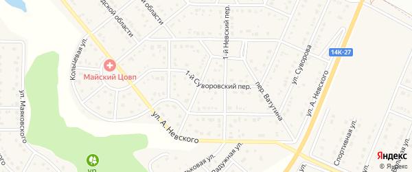Суворовский 1-й переулок на карте Майского поселка Белгородской области с номерами домов