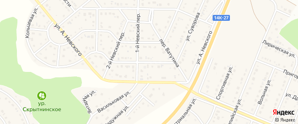 Улица Суворова на карте Майского поселка Белгородской области с номерами домов