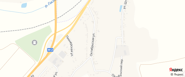 Октябрьская улица на карте Майского поселка Белгородской области с номерами домов