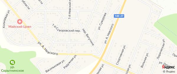 Переулок Ватутина на карте Майского поселка Белгородской области с номерами домов