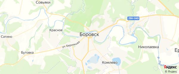 Карта Боровска с районами, улицами и номерами домов