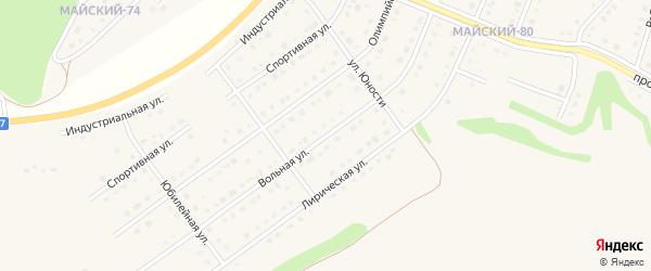 Вольная улица на карте Майского поселка Белгородской области с номерами домов