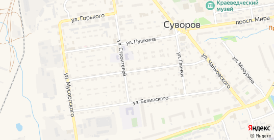 Улица Лермонтова в Суворове с номерами домов на карте. Спутник и схема онлайн