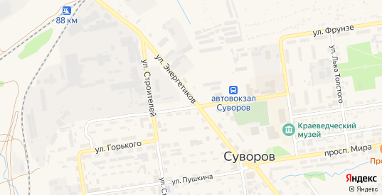 Улица Энергетиков в Суворове с номерами домов на карте. Спутник и схема онлайн