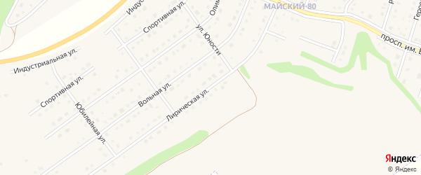 Лирическая улица на карте Майского поселка Белгородской области с номерами домов