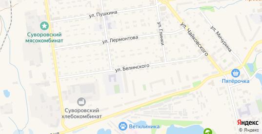 Улица Белинского в Суворове с номерами домов на карте. Спутник и схема онлайн