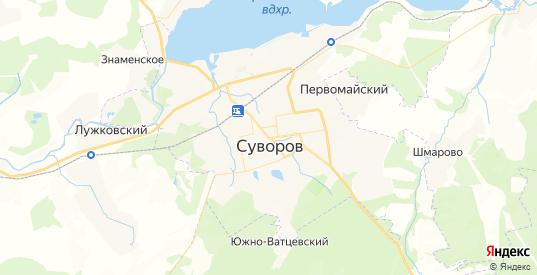 Карта Суворова с улицами и домами подробная. Показать со спутника номера домов онлайн