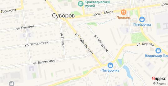 Улица Чайковского в Суворове с номерами домов на карте. Спутник и схема онлайн