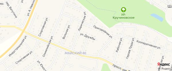 Улица Дружбы на карте Майского поселка Белгородской области с номерами домов
