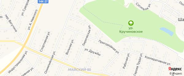 Пригородная улица на карте Майского поселка Белгородской области с номерами домов