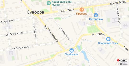 Улица Мичурина в Суворове с номерами домов на карте. Спутник и схема онлайн