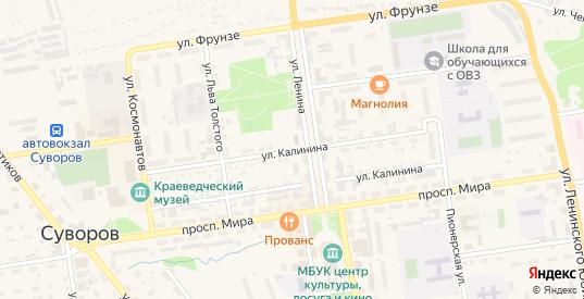 Улица Калинина в Суворове с номерами домов на карте. Спутник и схема онлайн