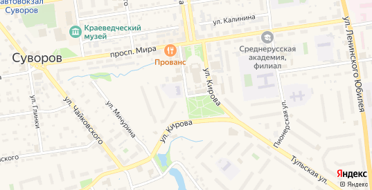 Улица Кирова в Суворове с номерами домов на карте. Спутник и схема онлайн